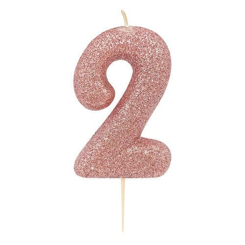 Number 2 Rose Gold Glitter Candle - HoorayDays