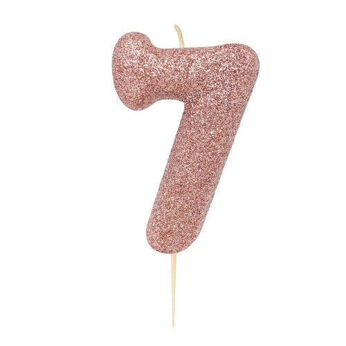 Number 7 Rose Gold Glitter Candle - HoorayDays