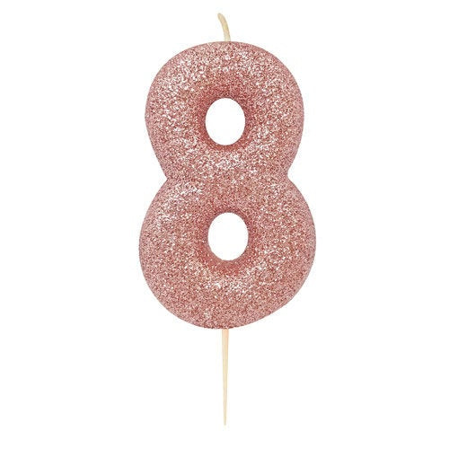 Number 8 Rose Gold Glitter Candle - HoorayDays