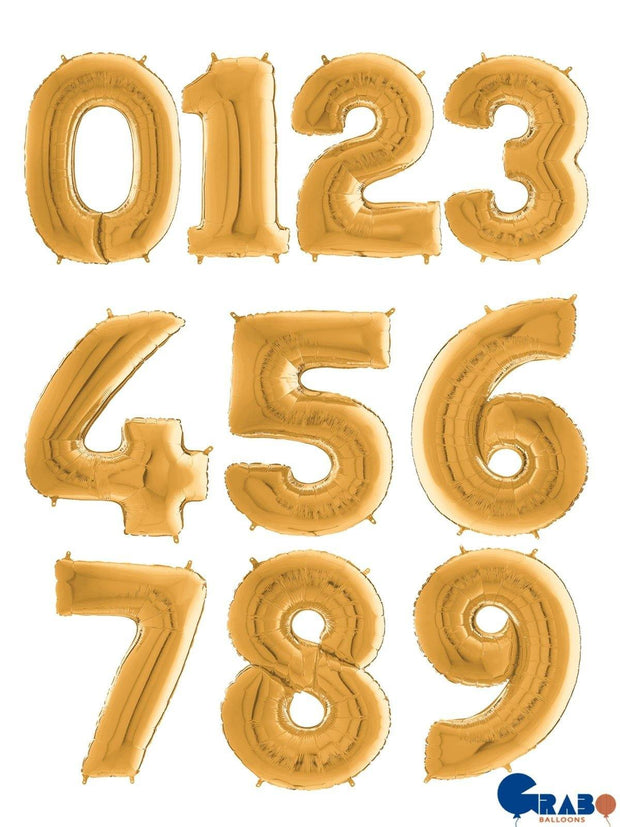 26 Inch Gold Number Balloons - HoorayDays