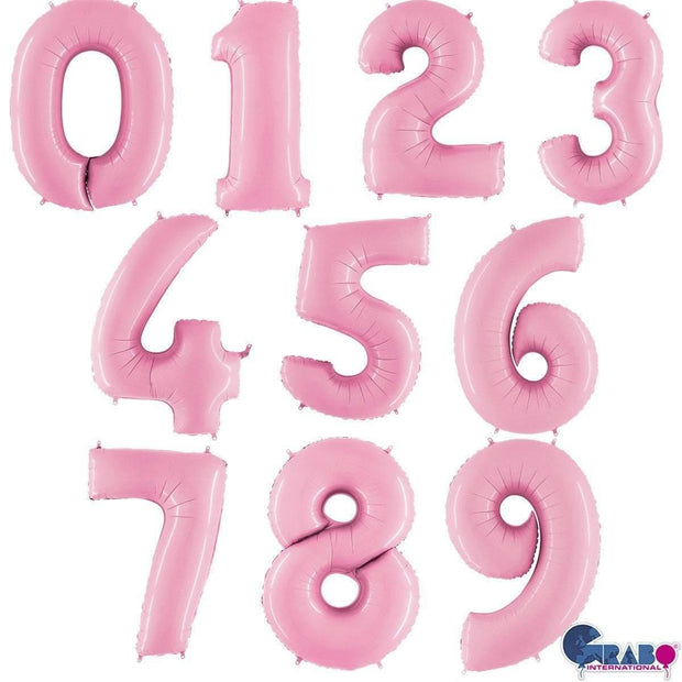 40 Inch Pastel Pink Number Balloons - HoorayDays