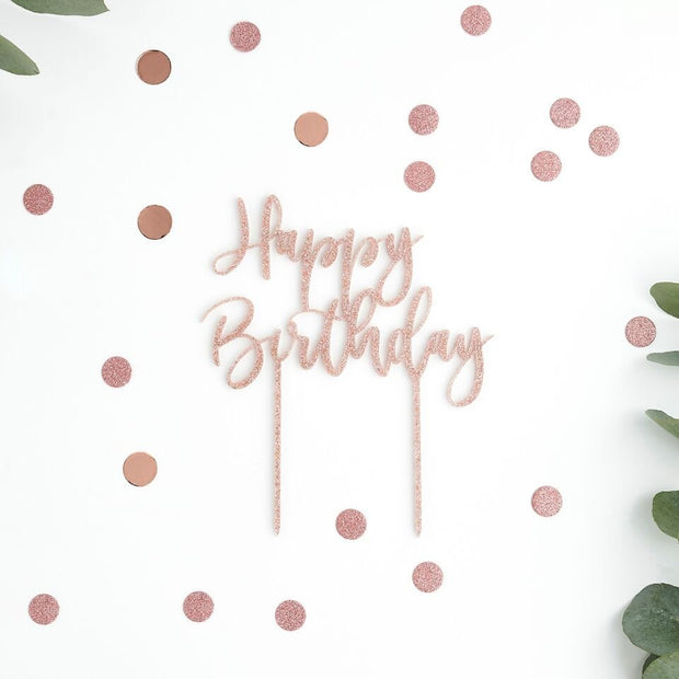 Rose Gold Happy Birthday Cake Topper - HoorayDays