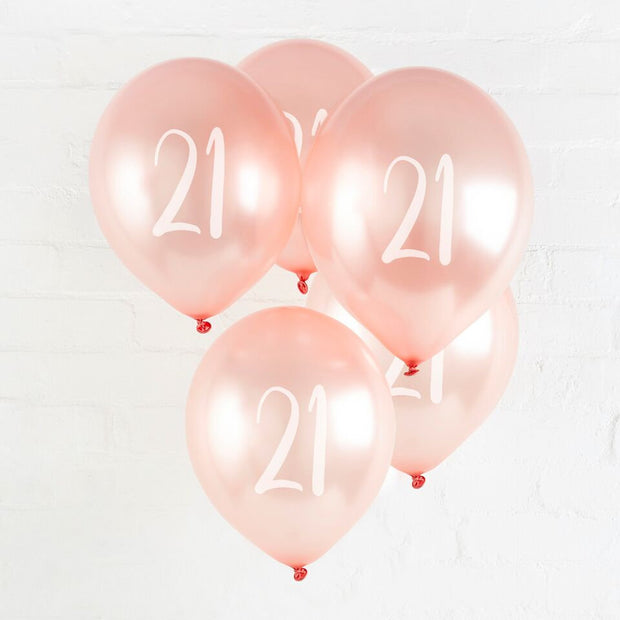 5 Rose Gold 21st Balloons - HoorayDays