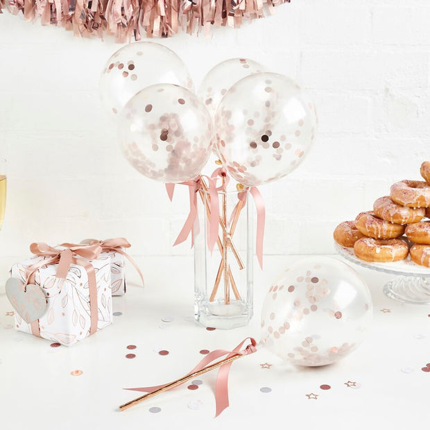 5 Rose Gold Mini Confetti Balloon Pops - HoorayDays