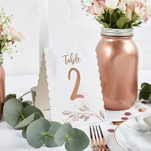1-12 Rose Gold Table Numbers - HoorayDays