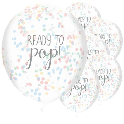 5 Ready to Pop Rainbow Confetti Balloons, Neutral Baby Shower Decor, Gender Reveal, New Baby Party, New Arrival, Boy, Girl, Balloons