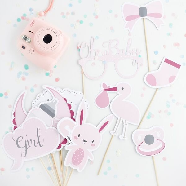 13 Pink and White Baby Shower Photo Booth Props, Oh Baby, Baby Shower Gift, Baby Shower Keepsake, Girl Baby Shower, Gender Reveal, New Baby