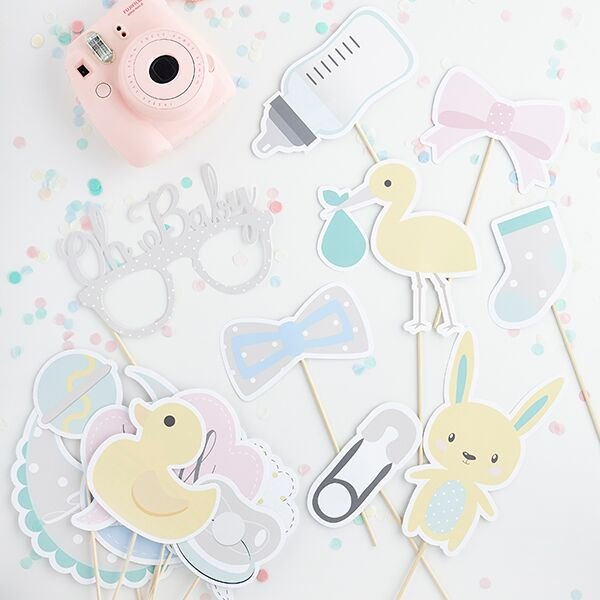 Neutral Baby Shower Photo Props - HoorayDays