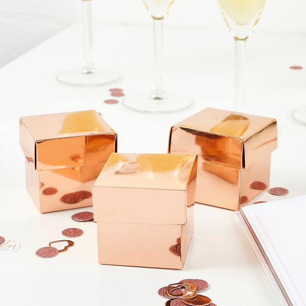 10 Rose Gold Favour Boxes - HoorayDays