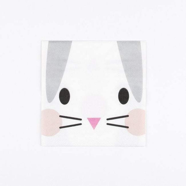 20 Grey and White Bunny Rabbit Party Napkins - HoorayDays