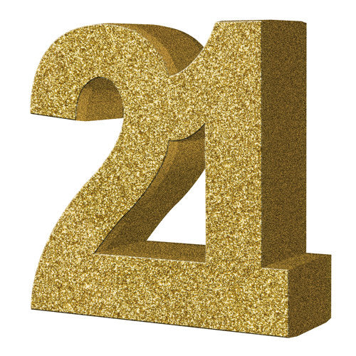 Gold Glitter 21st Birthday Table Decoration - HoorayDays