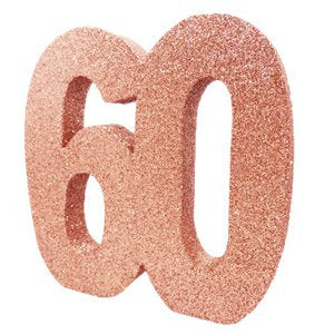 Rose Gold Glitter 60th Table Decoration - HoorayDays
