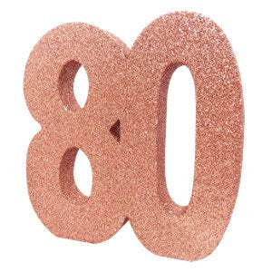 Rose Gold Glitter 80th Table Decoration - HoorayDays