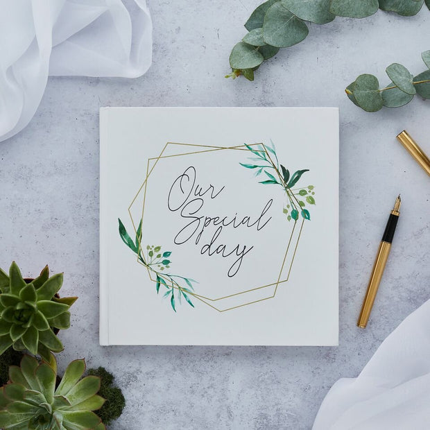 Gold Leaves Guest Book - HoorayDays
