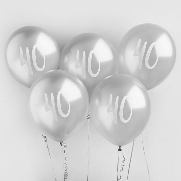 5 Silver 40th Birthday Balloons - HoorayDays