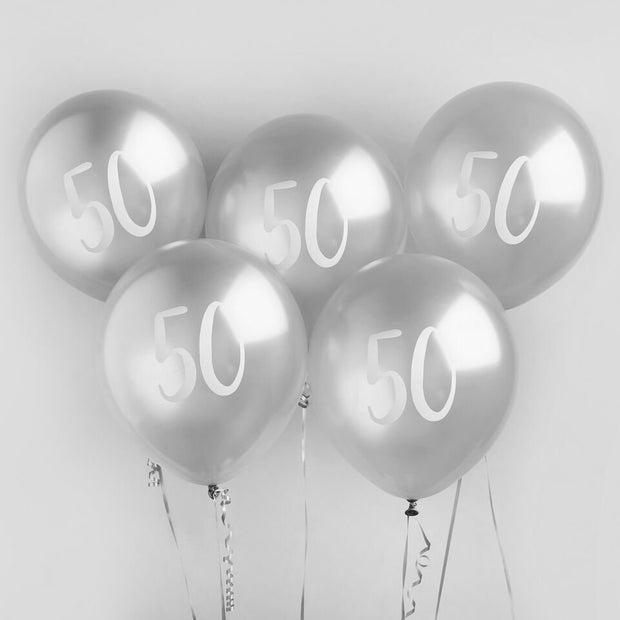 5 Silver 50th Birthday Balloons - HoorayDays