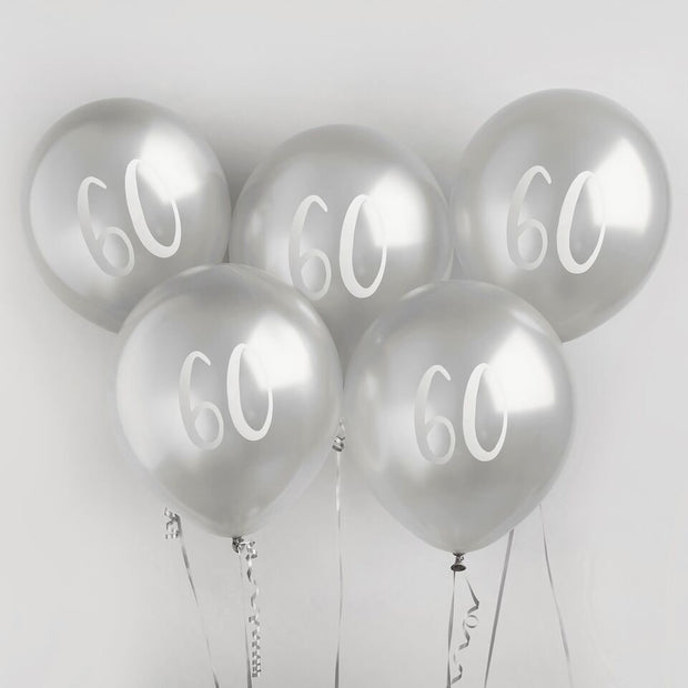 5 Silver 60th Birthday Balloons, Sixtieth Birthday Balloons, Birthday Party Balloons, Birthday Party Decorations, Silver Birthday Decor