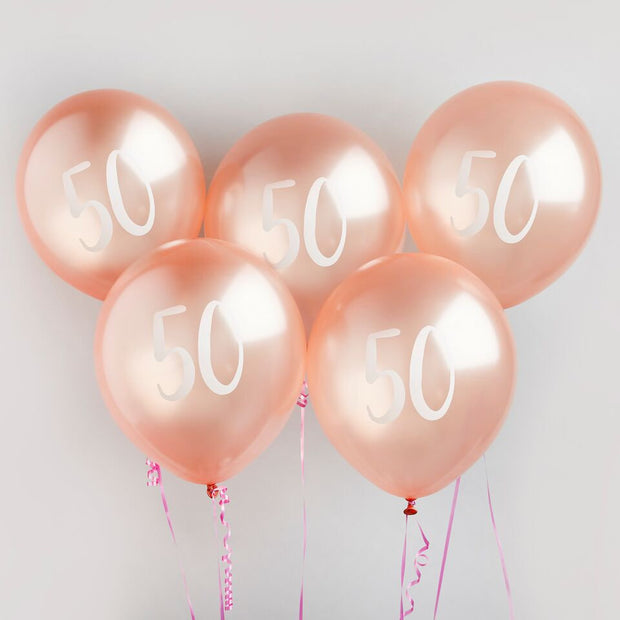 5 Rose Gold 50th Birthday Balloons - HoorayDays