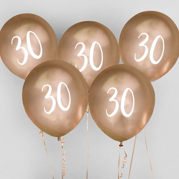 5 Gold 30th Birthday Balloons - HoorayDays