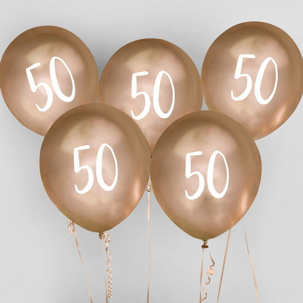 5 Gold 50th Birthday Balloons - HoorayDays