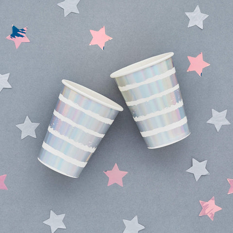 10 Silver Stripe Party Cups - HoorayDays