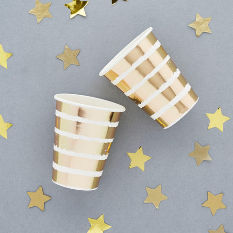 10 Gold Stripe Party Cups - HoorayDays