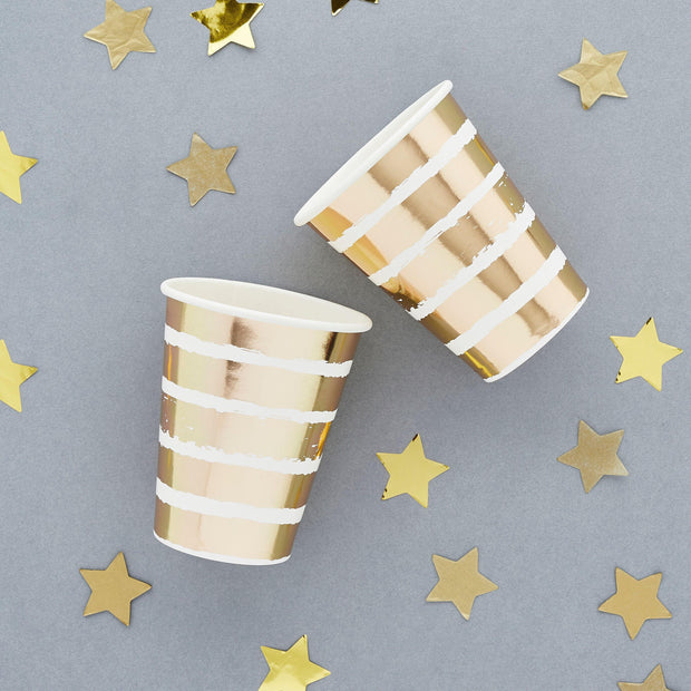 10 Gold Stripe Party Cups, Gold Wedding Cups, Gold Anniversary Party, Engagement Party, Gold Party Decorations, Gold Paper Party Cups