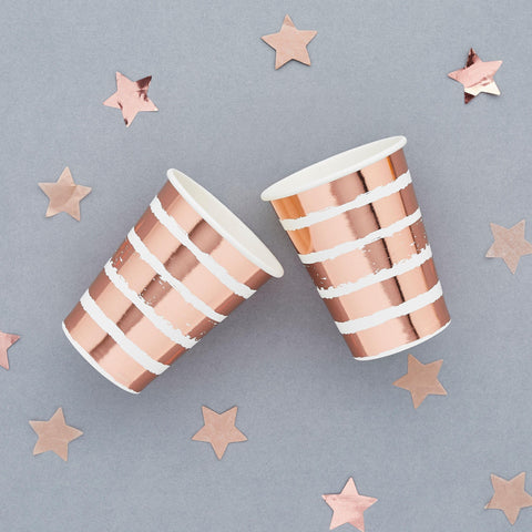 10 Rose Gold Stripe Cups - HoorayDays