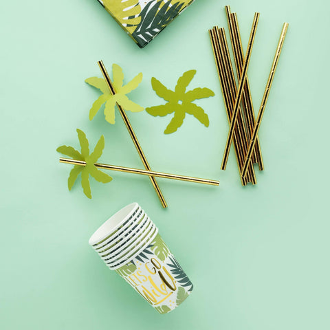 24 Tropical Leaf Party Straws - HoorayDays