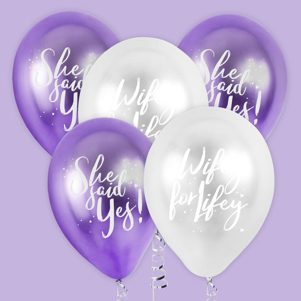 5 'She Said Yes' Balloons, Hen Party Balloons, Bride to Be, Purple Silver Hen Party Decorations, Bridal Shower Balloons, Bachelorette Party