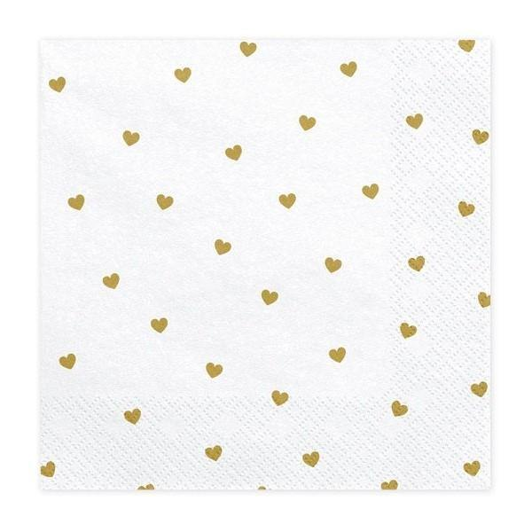 20 Gold Heart Napkins - HoorayDays