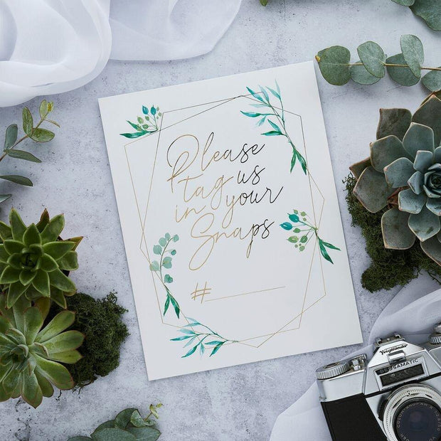 2 Social Media Wedding Hashtag Cards - HoorayDays