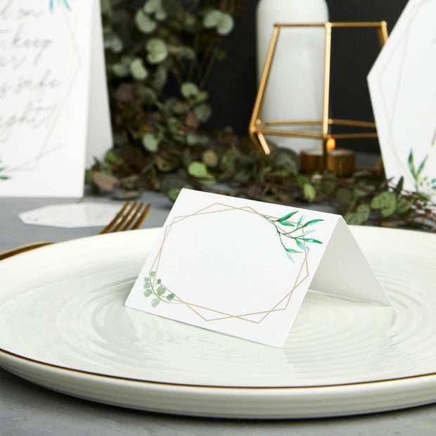 10 Gold White Place Cards - HoorayDays