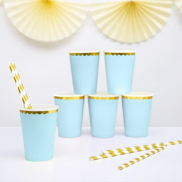 6 Light Blue and Gold Party Cups - HoorayDays