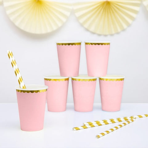6 Pink and Gold Party Cups - HoorayDays