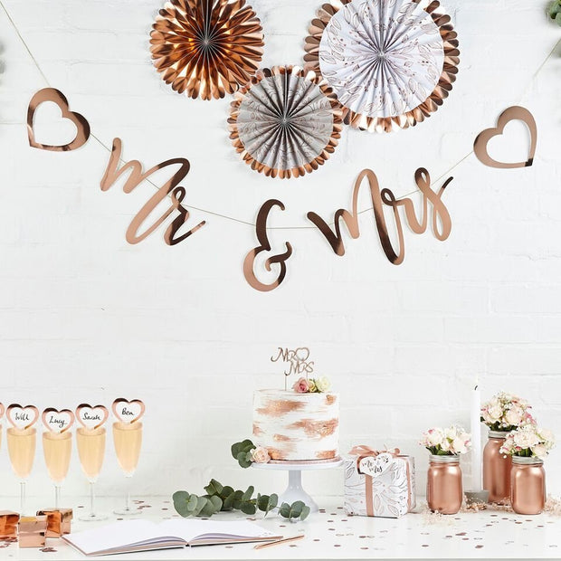 Rose Gold Mr & Mrs Bunting - HoorayDays