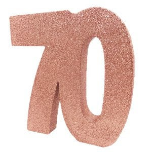 Rose Gold Glitter 70th Table Decoration - HoorayDays