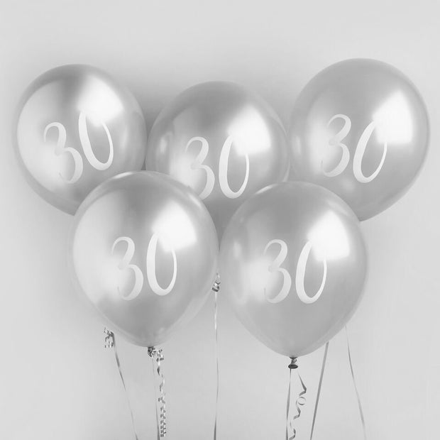 5 Silver 30th Birthday Balloons - HoorayDays