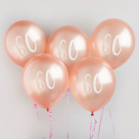 5 Rose Gold 60th Birthday Balloons - HoorayDays