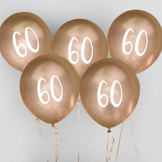 5  Gold 60th Birthday Balloons, Sixtieth Birthday Balloons, Birthday Party Balloons, Birthday Party Decorations, Gold Birthday