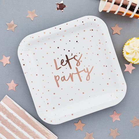 10 Rose Gold Lets Party Plates - HoorayDays