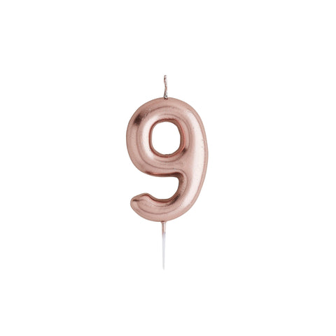 Number 9 Rose Gold Candle - HoorayDays