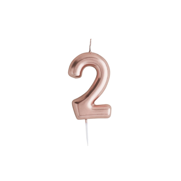 Number 2 Rose Gold Candle - HoorayDays