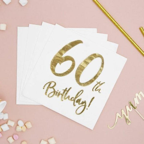 20 Gold 60th Birthday Napkins - HoorayDays
