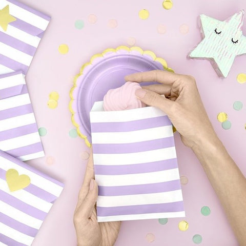 6 Purple Party Bags - HoorayDays