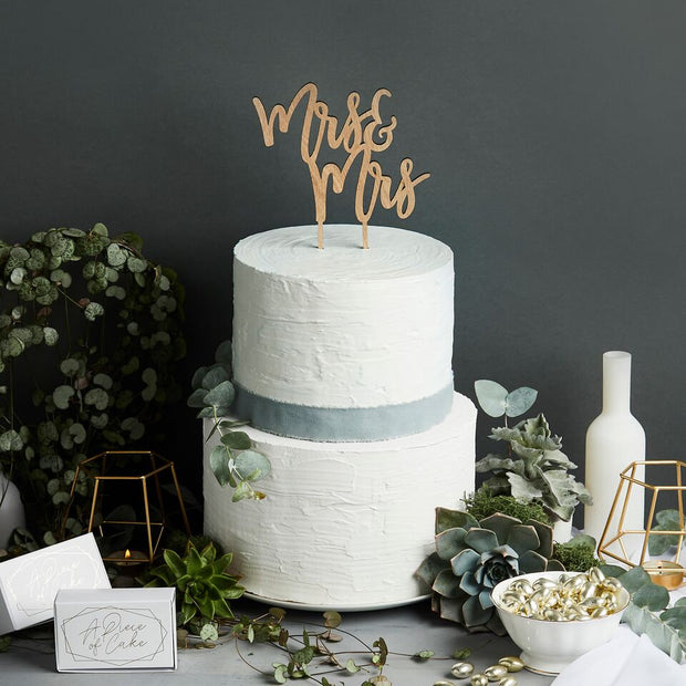 Wooden Mrs & Mrs Cake Topper - HoorayDays