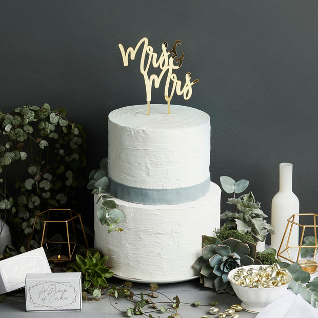 1 Gold Mrs & Mrs Cake Topper - HoorayDays