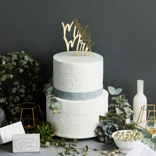 1 Gold Mr & Mrs Cake Topper - HoorayDays