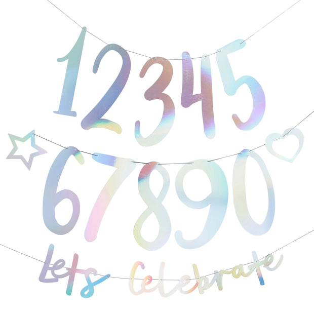 Iridescent Birthday Banner - HoorayDays