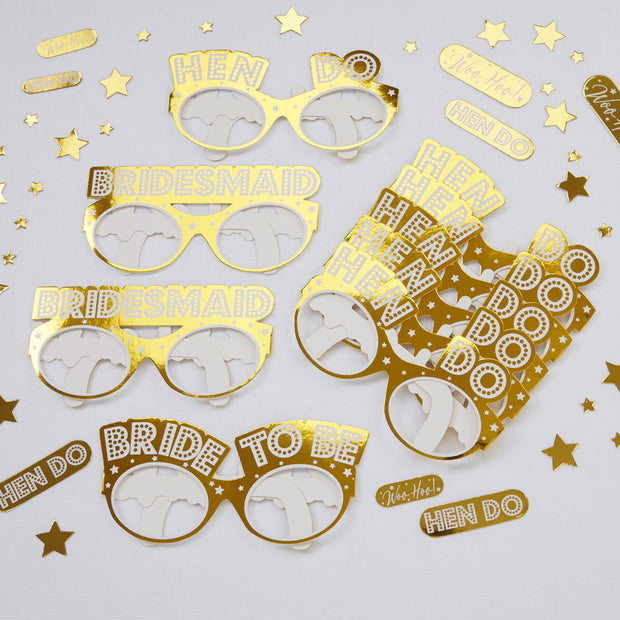 9 Hen Party Gold Glasses, Hen Party Glasses, Bachelorette Props, Bridal Party Glasses, Bridal Shower Decor, Hen Party Photo Booth Props